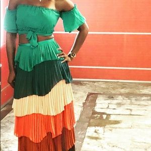 Two piece off the shoulder top and long skirt